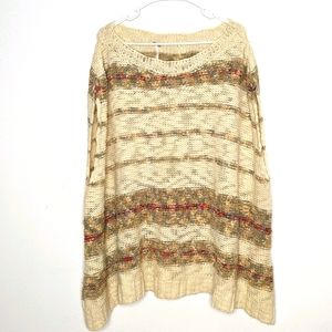 Free People Wool Blend Poncho Style Sweater M
